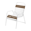 St. Maarten Dining Chair Vinyl Straps with White Stackable Aluminum Frame - Leisure Brown