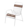 St. Maarten Dining Chair Vinyl Straps with White Stackable Aluminum Frame - Dark Brown