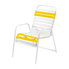 St. Maarten Dining Chair Vinyl Straps with White Stackable Aluminum Frame - Yellow