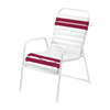 St. Maarten Dining Chair Vinyl Straps with White Stackable Aluminum Frame - Burgundy