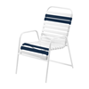 St. Maarten Dining Chair Vinyl Straps with White Stackable Aluminum Frame - Navy Blue