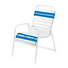 St. Maarten Dining Chair Vinyl Straps with White Stackable Aluminum Frame - Royal Blue
