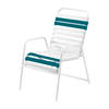 St. Maarten Dining Chair Vinyl Straps with White Stackable Aluminum Frame - Deepwater Blue