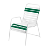 St. Maarten Dining Chair Vinyl Straps with White Stackable Aluminum Frame - Sherwood Green