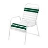 St. Maarten Dining Chair Vinyl Straps with White Stackable Aluminum Frame - Dark Green
