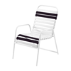 St. Maarten Dining Chair Vinyl Straps with White Stackable Aluminum Frame - Black