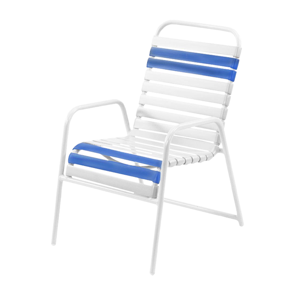 Quick Ship Pool Furniture, St. Maarten Dining Chair Vinyl Straps With White Aluminum Frame White Straps