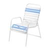 St. Maarten Dining Chair Vinyl Straps with White Stackable Aluminum Frame - Light Blue