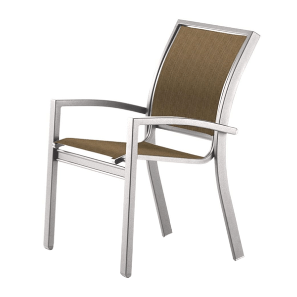 Telescope Kendall Sling Stacking Arm Chair with Aluminum Frame