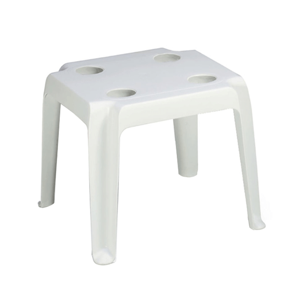 Oasis 18 Inch Square Cocktail Table with Cup Holders Plastic Resin