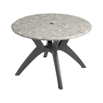"""42"""" Round Melamine Table Top with Umbrella Hole and Resin Pedestal Base"""