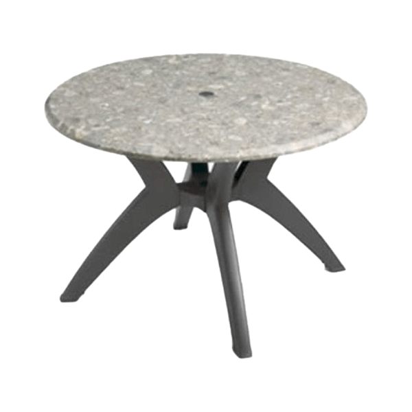 "42"" Round Melamine Table Top with Umbrella Hole and Resin Pedestal Base"
