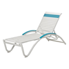 Helios Contract Vinyl Strap Chaise Lounge Powder-Coated Aluminum Frame - 29 lbs.
