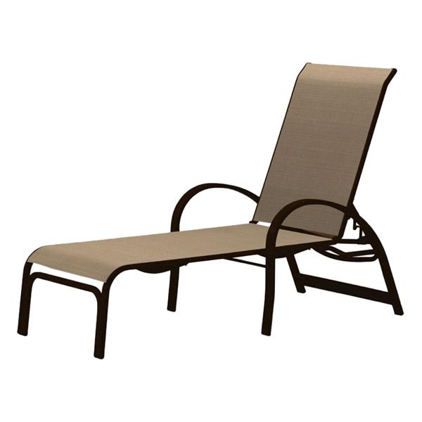 Telescope Aruba Lay Flat Chaise Lounge Fabric Sling with Aluminum Frame