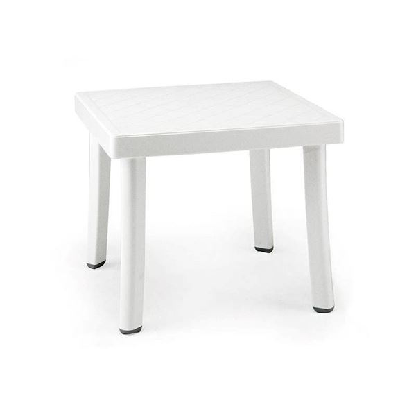 Rodi 18 Inch Square Plastic Resin Side Table