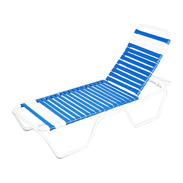 Daytona Commercial Chaise Lounge Vinyl Strap With Stackable Powder-Coated Aluminum Frame