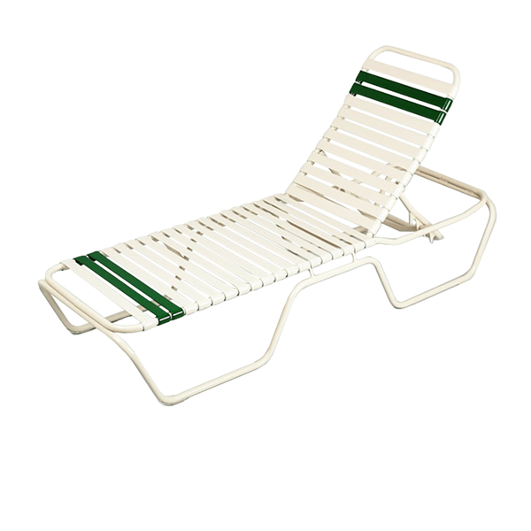 Delray Commercial Full-Base Vinyl Strap Chaise Lounge Powder-Coated Aluminum Stackable