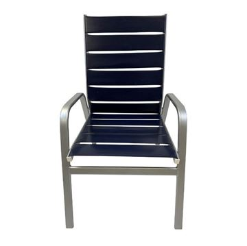Destin Commercial Vinyl Strap Stack Armchair with Commercial Aluminum Frame - 9 lbs.
