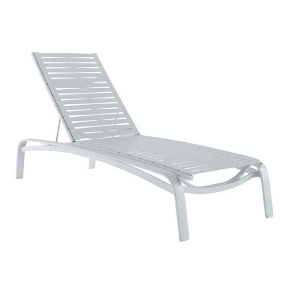 Tropitone Laguna Beach EZ Span Vinyl Strap Chaise Lounge with Stackable Frame - 38 lbs.