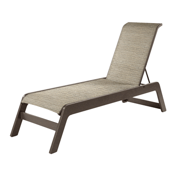 Malibu Armless Chaise Lounge Fabric Sling with Marine Grade Polymer Stackable Frame