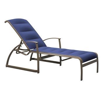Tropitone MainSail Padded Sling Chaise Lounge with Stackable Commercial Aluminum Frame - 28 lbs.