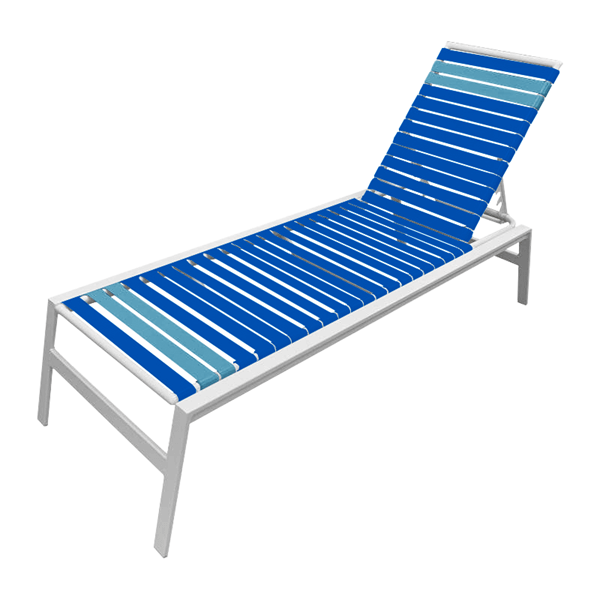 Waterside Vinyl Strap Chaise Lounge with Commercial Aluminum Frame