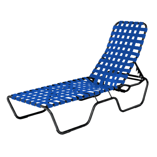 Sanibel Basketweave Vinyl Strap Chaise Lounge with Aluminum Frame - 24 lbs.