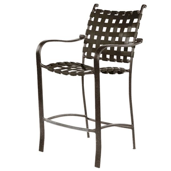 Rosetta Basketweave Vinyl Strap Barstool with Aluminum Frame - 17 lbs.
