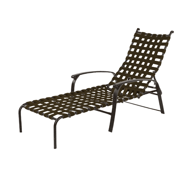 Rosetta Basketweave Vinyl Strap Chaise Lounge with Aluminum Frame - 14 lbs.