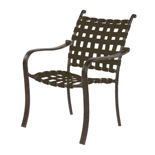 Rosetta Basketweave Vinyl Strap Dining Chair with Aluminum Frame - 17 lbs.