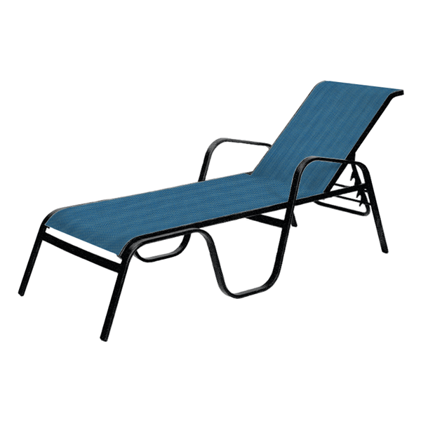 Seascape Sling Chaise Lounge with Stackable Commercial Aluminum Frame - 29 lbs.