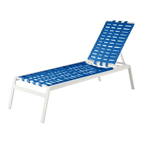 Waterside Vinyl Strap Cross Weave Chaise Lounge with Commercial-Grade Frame