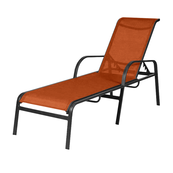 Ocean Breeze Chaise Lounge with Arms Fabric Sling with Aluminum Frame