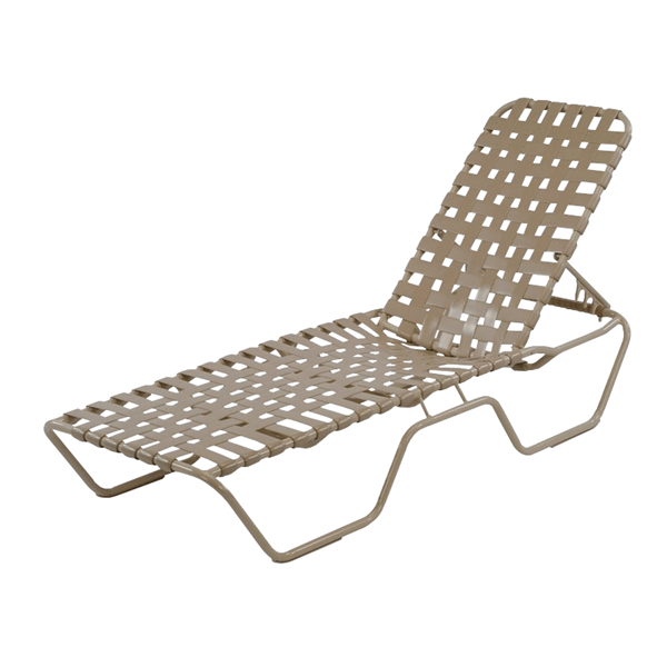 St. Maarten Extended Bed Chaise Lounge Vinyl Crossweave Straps with Aluminum Frame