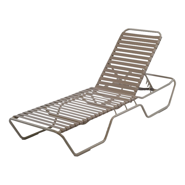 St. Maarten Extended Bed Chaise Lounge Vinyl Straps with Aluminum Frame