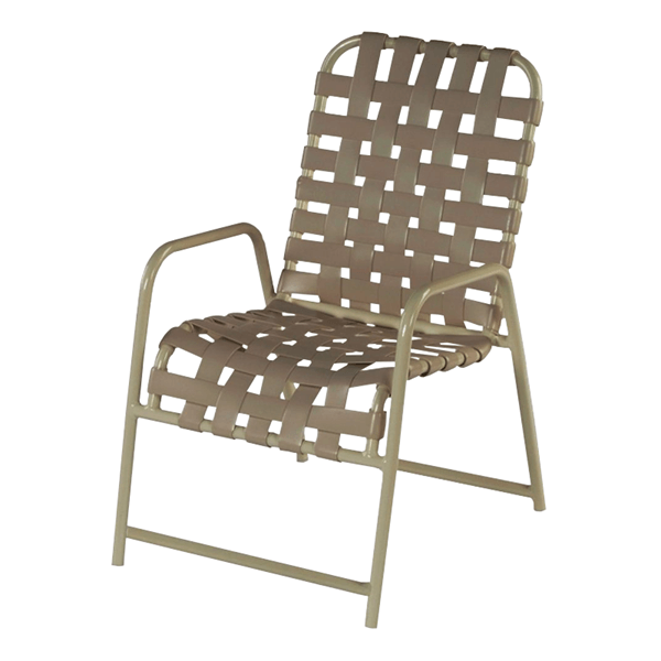 St. Maarten Cross Weave Dining Chair, Vinyl Strap With Aluminum Frame With Extra Brace