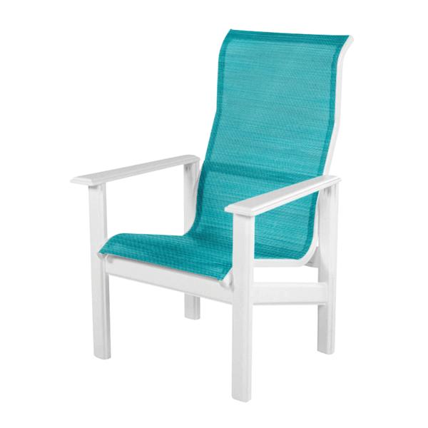 Hampton High Back Dining Arm Chair Fabric Sling with Marine Grade Polymer Frame