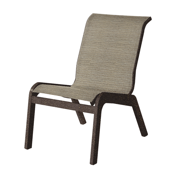 Malibu Armless Dining Chair Fabric Sling with Marine Grade Polymer Stackable Frame