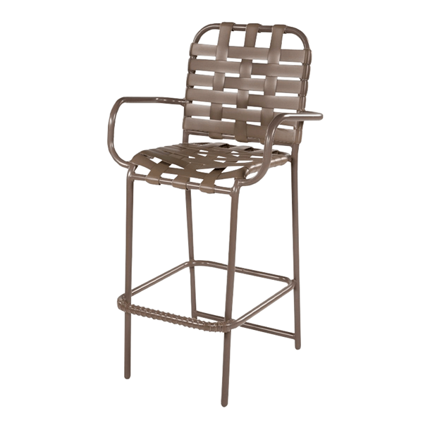 St. Maarten Poolside Bar Stool with Arms, Crossweave Vinyl Straps with Aluminum Frame