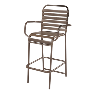 St. Maarten Vinyl Strap Bar Stool with Arms and Powder Coated Aluminum Frame
