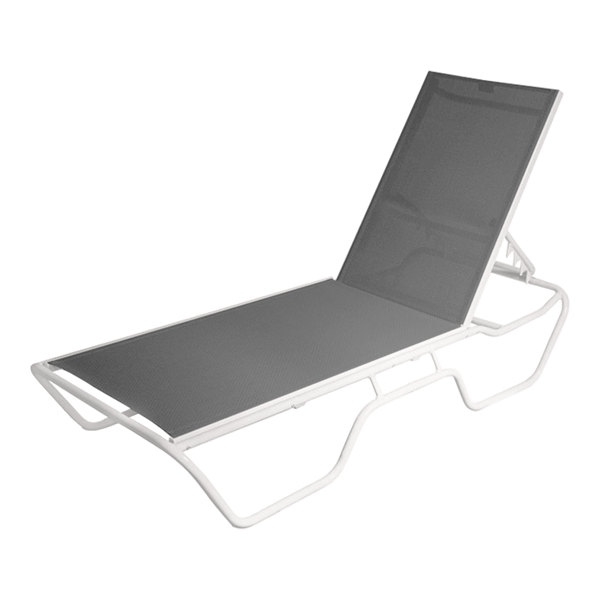 Delray Commercial Sling Full-Base Chaise Lounge Powder-Coated Aluminum Stackable