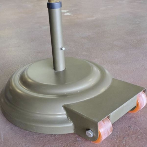 "23"" Diameter Aluminum Umbrella Base With Wheels Filled With Concrete - 175 lbs."