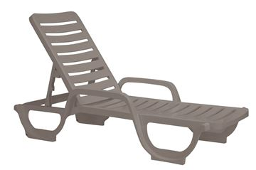 French Taupe Bahia Plastic Resin Chaise Lounge, 30 Lbs.