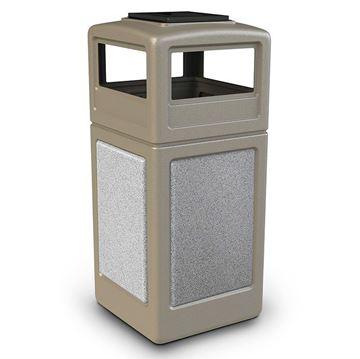 42 Gallon Plastic Pool Deck Trash Can with Stone Panel and Dome Ash Tray Top