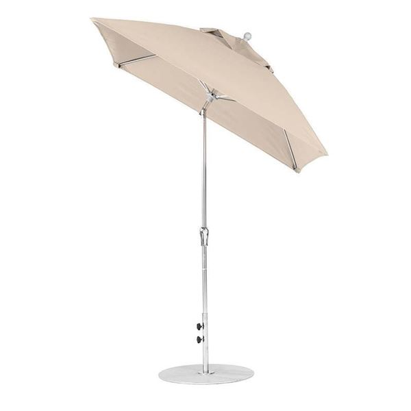 6.5 Foot Square Fiberglass Market Umbrella with Auto Tilt Crank, Marine Grade Fabric