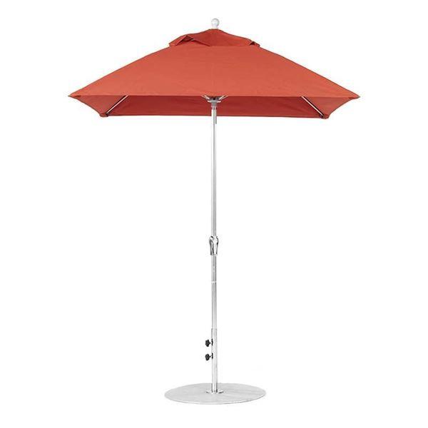 6.5 Foot Square Fiberglass Market Umbrella with Crank