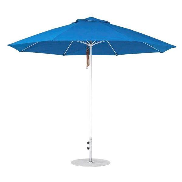 Quick Ship 11 Foot Octagonal Fiberglass Market Umbrella with Pacific Blue Marine Grade Fabric