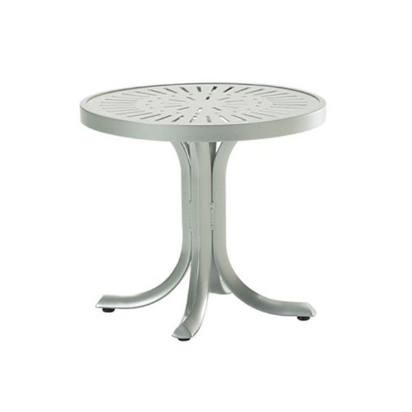 """20"""" Round La'Stratta Pedestal Side Table With Punched Aluminum Frame"""