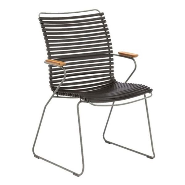 Ledge Lounger Playnk Dining Chair with Bamboo Armrests and Powder-Coated Metal Frame - 18 lbs.