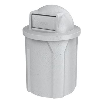 42 Gallon Pool Round Deck Trash Can With Dome Top Lid